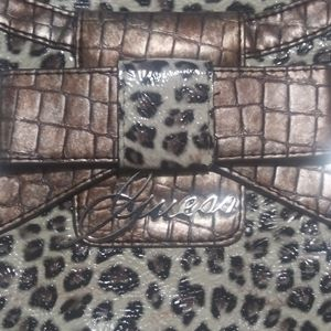 Guess Leapord Leather Print Handbag